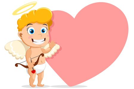 Cupid stands, smiling, copyspace, Valentines day On white background Banque d'images - 138802545