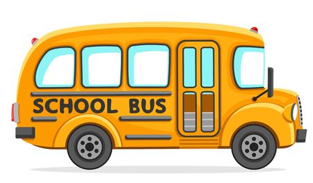 Empty school bus close-up on a white background. Isolated Ilustrace