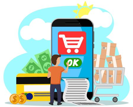Man miniature pays for purchases online from your phone on a white background. Online payments