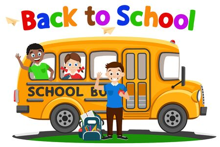 Children get on the school bus on a white background. Back to school.