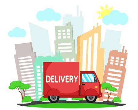 Delivery truck on the background of the city landscape and nature. Delivery banner
