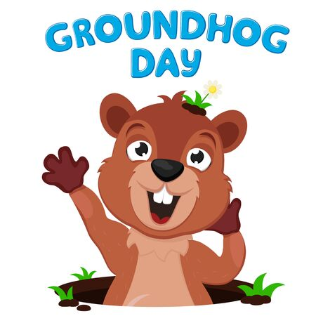The Groundhog crawls out of its burrow and stretches on a white background. Groundhog day