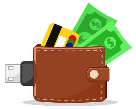 E-wallet on a white background. Electronic commerce Ilustracje wektorowe