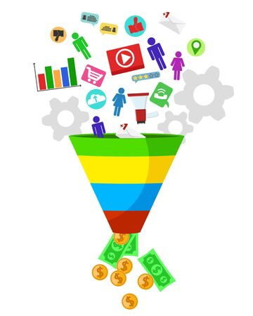 Sales funnel attracts customers and displays money on a white background. Vektoros illusztráció