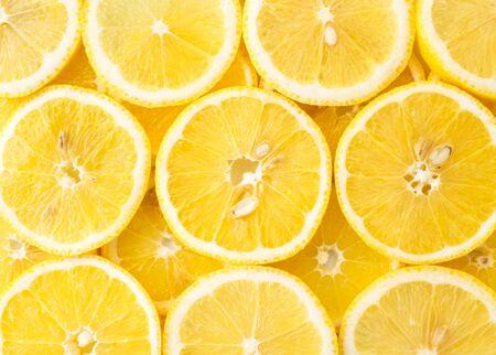 Fondo abstracto de la vista superior de rodajas de limón. De cerca Foto de archivo