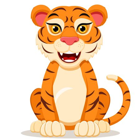 Il personaggio della tigre si siede su uno sfondo bianco e sorride.