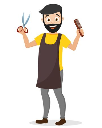 A male hairdresser holds a pair of scissors and a comb on a white background. Character Barber shop