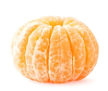 Peeled mandarin close-up on a white background. Isolated