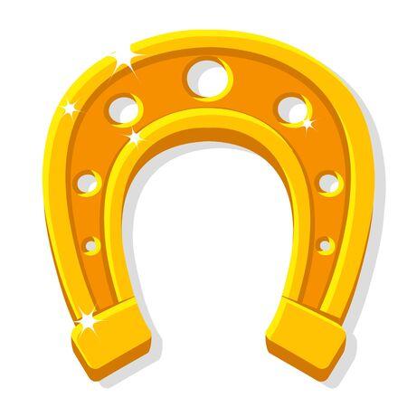 Golden horseshoe on a white, luck. Isolated Векторная Иллюстрация