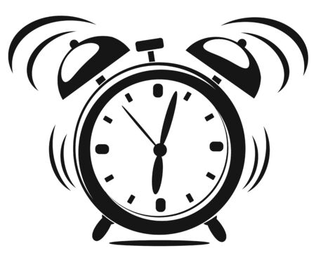Alarm clock black and white silhouette rings on a white background. Time to Wake up