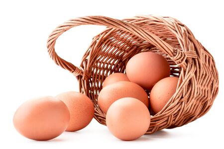 Chicken eggs spilled out of the basket in close-up on a white background. Isolated