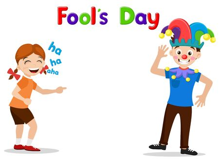 Girl laughing with a dressed up clown guy on a white background. Fools Day