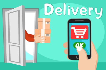Delivery of goods home via the Internet from a smartphone. Online order, payment