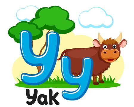 Letter y with animal, yak on a white background. Alphabet for children.