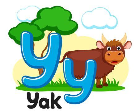 Lettre y avec animal, yak sur fond blanc. Alphabet pour les enfants.