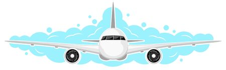 The plane flies in the sky on a white background. Front view
