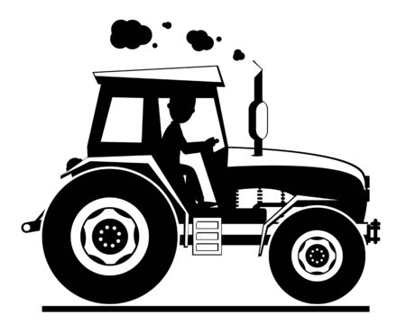 Tractor silhouette drive on a white background.