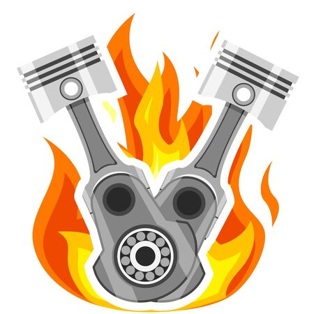 Two pistons with connecting rods on a background of fire, engine parts on a white background