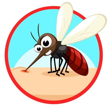 The insect mosquito bites and sucks blood on the human body. Character. Banner on a white background