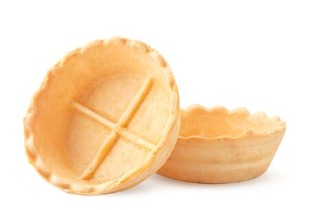 Empty tartlets closeup on a white background. Isolated
