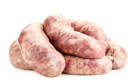 Raw meat sausages close-up on a white background. Isolated 스톡 콘텐츠