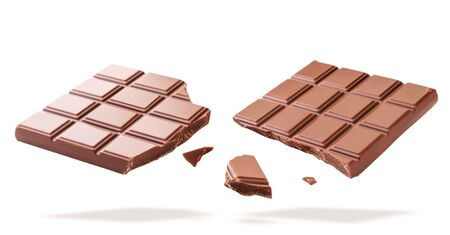Broken chocolate bar flies on a white background close-up. Isolated 스톡 콘텐츠