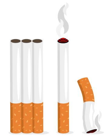 Set of realistic cigarettes whole, with smoke and a cigarette butt on a white background