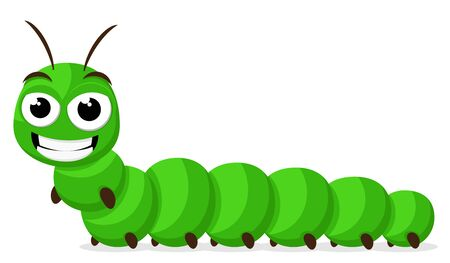 A green caterpillar is smiling on a white background. Character 스톡 콘텐츠