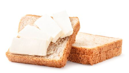 Sandwich with cream cheese close-up on a white background. Isolated