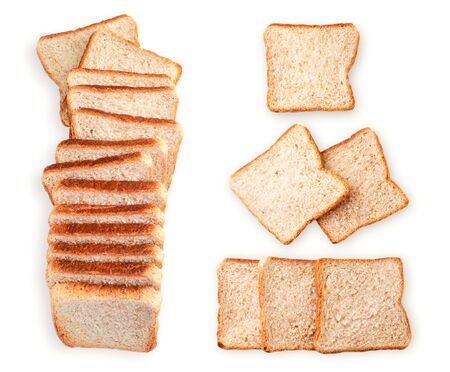 Set of sliced square bread close-up on a white background isolated. The view from top