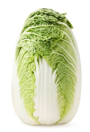 Chinese cabbage stands on a white. Isolated