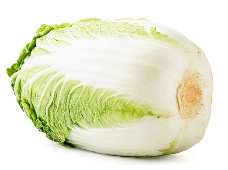 Chinese cabbage close-up on a white background. Isolated