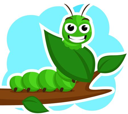 A caterpillar smiles and eats a green leaf on a white. Character 스톡 콘텐츠