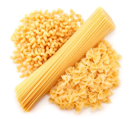 Assorted pasta on a white background isolated. The view from top