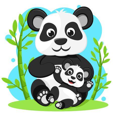 Panda bear with little panda sitting near the bamboo. Character
