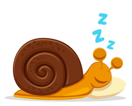 Round snail sleeping on a pillow on a white background. Character