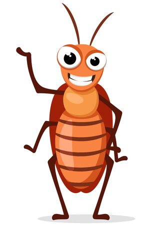 A cockroach insect stands and smiles on a white background. Character