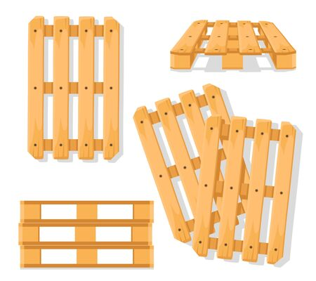 Set of wooden pallets, different angles on a white background