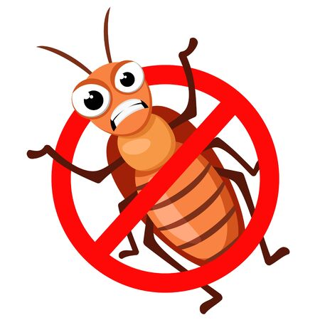Cockroach with a stop sign on a white background. Character