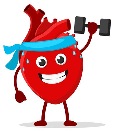 Healthy heart goes in for sports on a white background. Character