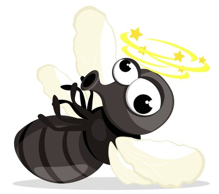 Fly insect nailed lies on a white background. Character 스톡 콘텐츠