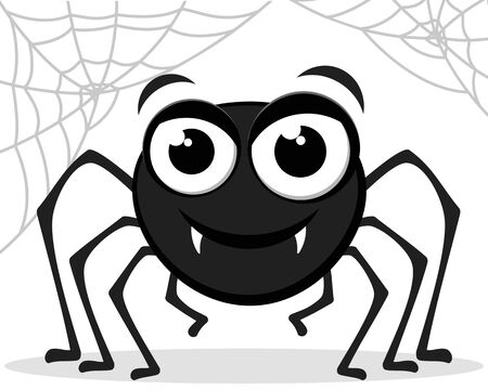 A spider smiles on a white background with a cobweb. Character