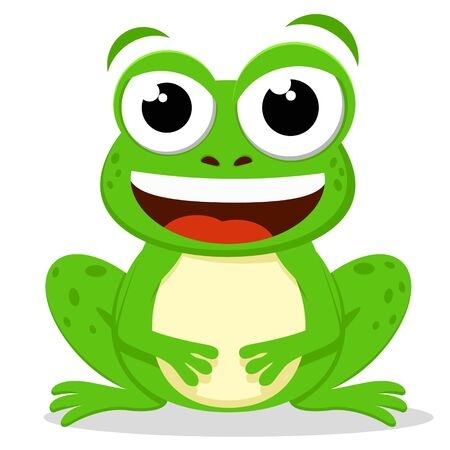Green toad sits and smiles on a white background. Character