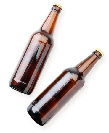 Two beer bottles close-up on a white background isolated. The view from top 스톡 콘텐츠