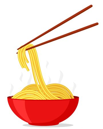 Noodles in a bowl and chopsticks on a white background 일러스트