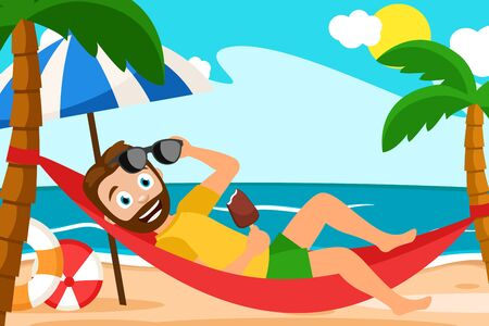 A man lies in a hammock around a palm tree, sea, sand. Vacation background