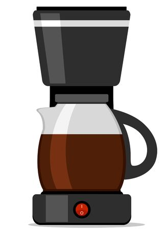 Coffee machine with a jug filled with coffee close up on a white background