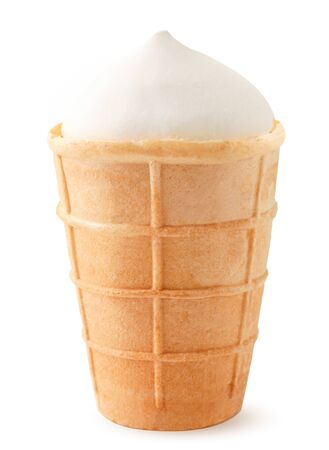 Ice cream in a waffle cup close-up on a white background. Isolated