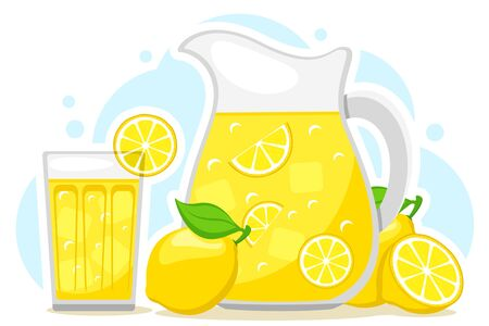 Lemonade in a jug and a glass with slices of lemon and ice on a white background 일러스트