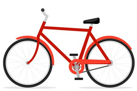 Red bike close-up on a white background. Transport 일러스트